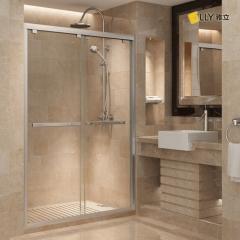 雅立淋浴房 整体浴室8mm钢化玻璃隔断 定做一字移门浴屏米兰雾色 8mm含贴膜