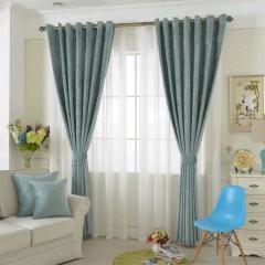 加厚纯色雪尼尔窗帘现代简约成品全遮光客厅遮阳卧室飘窗蓝色布料