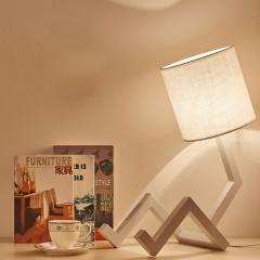 简约现代创意卧室床头宿舍插电式节能灯护眼书桌实木调光学习台灯