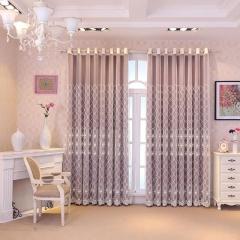 隔音 公主风高档双层成品棉麻卧室客厅现代落地加厚纯色遮光窗帘